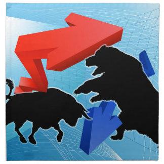 Bears Versus Bulls Stock Market Concept Napkin
