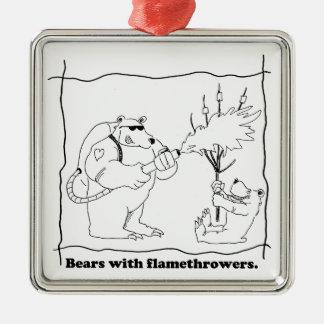 Bears with flamethrowers metal ornament