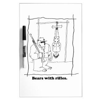 Bears with rifles dry erase whiteboard