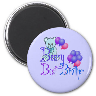 Beary Best Brother 6 Cm Round Magnet