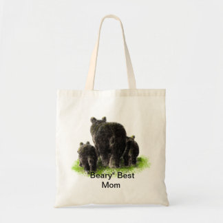 """Beary"" Best Mom Humor with watercolor Black Bears"
