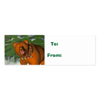 beary christmas, gift tag business card template