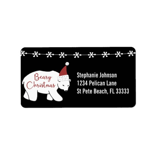 Beary Christmas Santa Hat Polar Bear Label