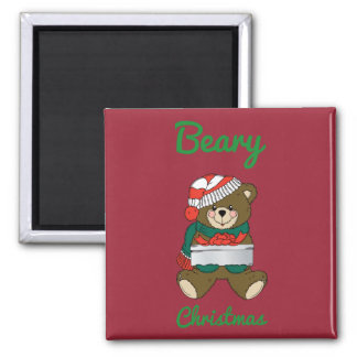 Beary Christmas Teddy Bear Merry Christmas Wishes Refrigerator Magnet