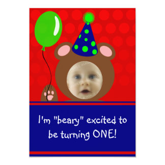 Beary Excited Bear Face Photo Birthday Party 13 Cm X 18 Cm Invitation Card