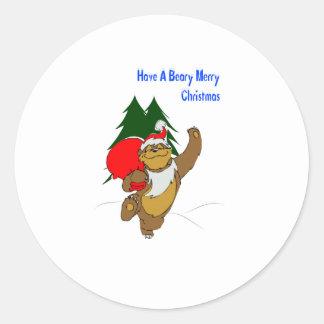 Beary Merry Christmas Round Sticker