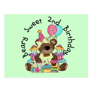 Beary Sweet 2nd Birthday T-shirts and Gifts Postcard