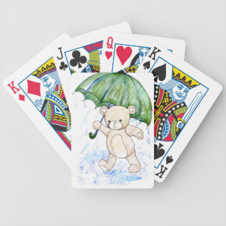 Beary wet teddy bicycle playing cards
