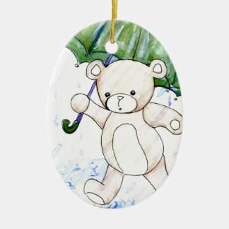 Beary wet teddy ceramic oval decoration