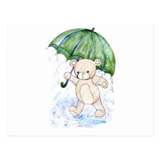 Beary wet teddy postcard
