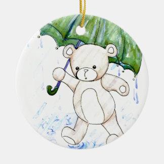 Beary wet teddy round ceramic decoration