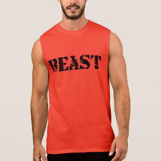 Beast Men's Ultra Sleeveless Red Gym T-Shirt