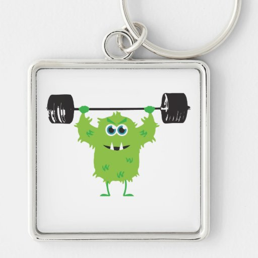 Beast Mode - Cute Monster Lifting Weights Keychains