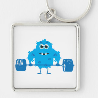 Beast Mode - Cute Monster Lifting Weights Silver-Colored Square Key Ring