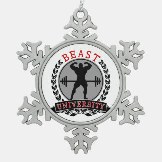 Beast Univ Bodybuilding Pewter Snowflake Ornament