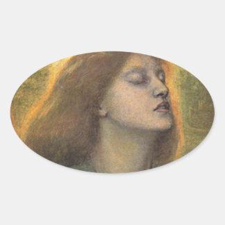 BEATA BEATRiX, by Dante Gabriel Rossetti Oval Sticker