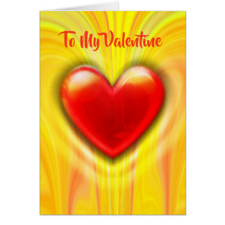 Beating Heart red/yellow custom Valentine's Card