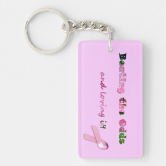 Beating the Odds & loving it Pink Ribbon Key Chain