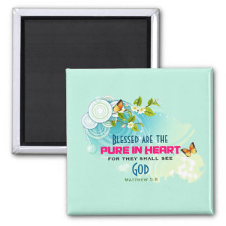 Beatitude Quote with Butterflies and Blossoms Magnet