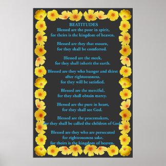 Beatitudes in a Golden Poppy Frame Poster