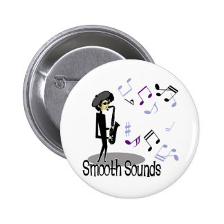 Beatnik Jazz Saxophone Player 6 Cm Round Badge