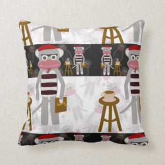 Beatnik Sock Monkey Poetry Party Cushion
