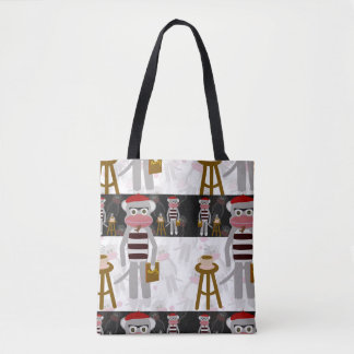 Beatnik Sockmonkey Poetry Party Tote Bag