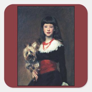 Beatrice Townsend w/Dog 1882 ~Realism Square Sticker