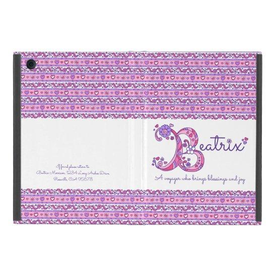 Beatrix letter B heart and flowers art ipad case