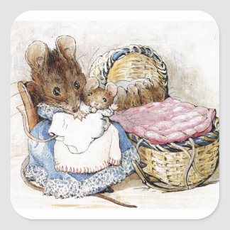 Beatrix Potter, Mother Mouse and Babies, Custom Square Sticker