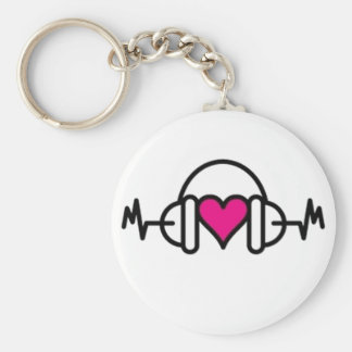 Beats of Love   Pink heart with pulse & headphone Key Ring