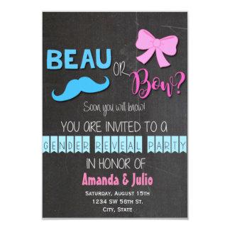 Beau or Bow Gender Reveal 9 Cm X 13 Cm Invitation Card
