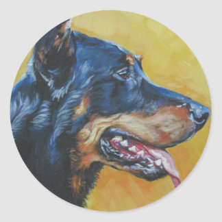 beauceron Fine Art Painting Classic Round Sticker