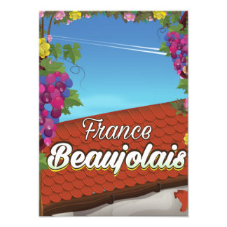 Beaujolais France wine travel poster