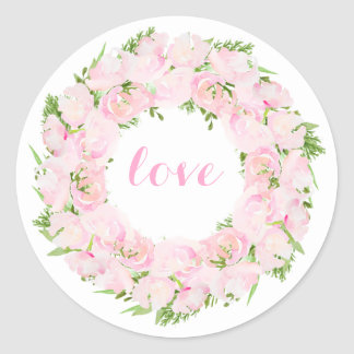 Beauliful Love Watercolor Flower Wreath Round Sticker