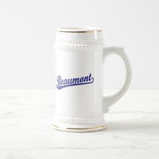 Beaumont script logo in blue coffee mugs