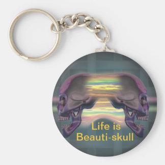 Beauti-skull Basic Round Button Key Ring