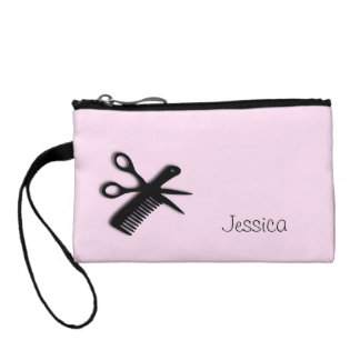 Beautician Design Pink Personalized Coin Purse