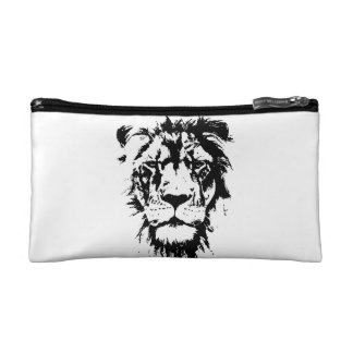 Beautician with black and white print Lion Makeup Bag