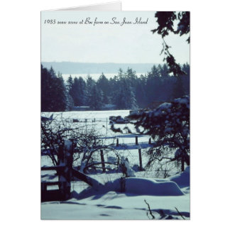 Beautiful 1985 snow scene at Boe farm on San Juan Greeting Card