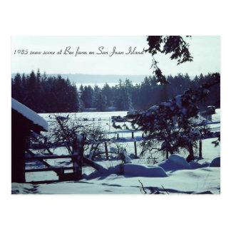 Beautiful 1985 snow scene at Boe farm on San Juan Postcard