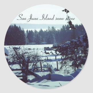 Beautiful 1985 snow scene at Boe farm on San Juan Round Sticker