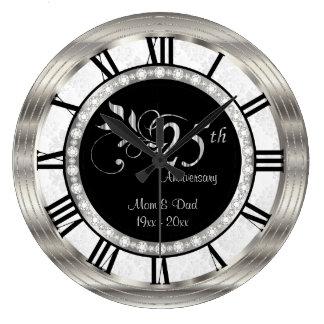 Beautiful 25th Silver Diamond Anniversary Large Clock