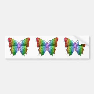 Beautiful 3D Jeweled Rainbow Butterfly Bumper Sticker
