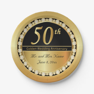 Beautiful 50th Golden Wedding Anniversary Paper Plate