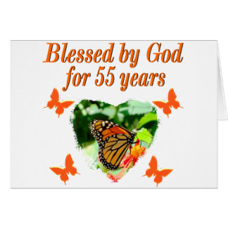 BEAUTIFUL 55TH BIRTHDAY BUTTERFLY CARD