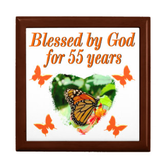 BEAUTIFUL 55TH BIRTHDAY BUTTERFLY LARGE SQUARE GIFT BOX