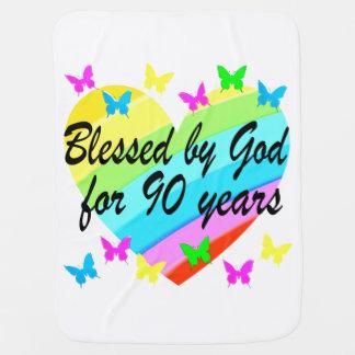 BEAUTIFUL 90TH CHRISTIAN BIRTHDAY PRAYER DESIGN BUGGY BLANKETS