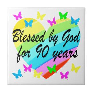 BEAUTIFUL 90TH CHRISTIAN BIRTHDAY PRAYER DESIGN SMALL SQUARE TILE