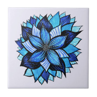 Beautiful Abstract Blue Flower Ink Drawing Ceramic Tile